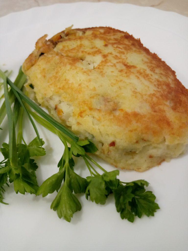 Картофельные зразы с грибами вешенки. Рецепт.